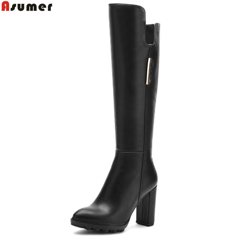 ASUMER 2018 autumn winter new arrive women boots black zipper round toe ladies boots super high knee high boots mulinsen new arrive 2017 autumn winter men