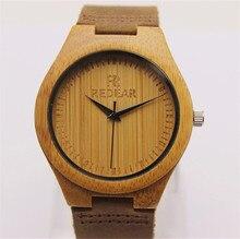 Деревянный Бамбука Любителей Моды Женщины Человек Наручные часы Кожаный ремешок Аналоговый Дисплей Кварцевые Случайные Часы Relogio Masculino Feminino