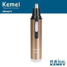 20 штук, новинка, профессиональный KM-6619 KEMEI с низким уровнем шума, перезаряжаемый триммер для удаления волос в носу и ушах, для дома, путешествий, цвета шампанского