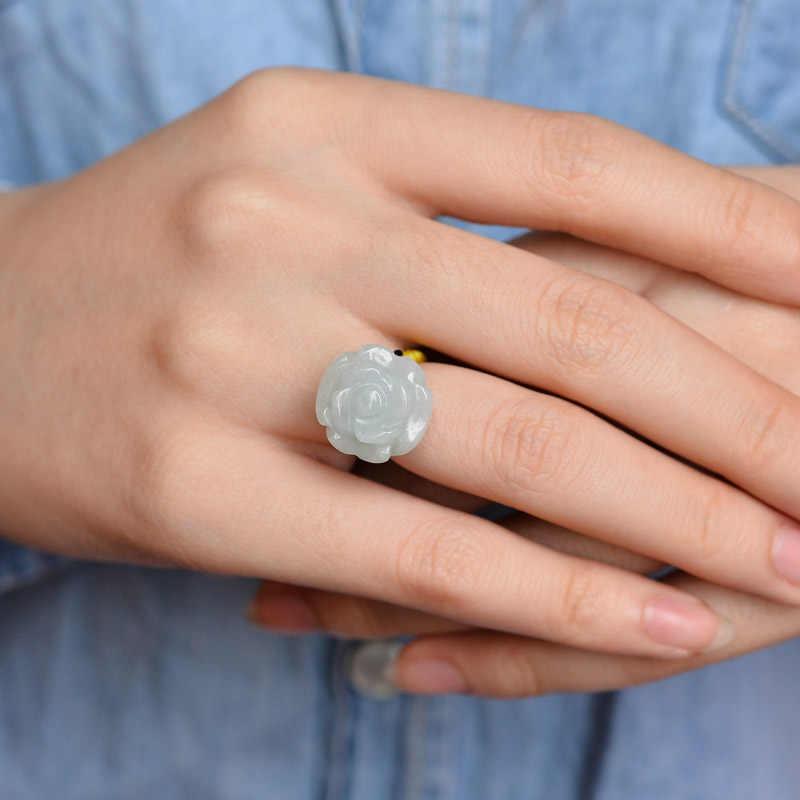 ธรรมชาติ Jadeite หยกแหวน Rose ดอกไม้ผู้หญิงแหวนทอผ้าเชือกสีเขียว US 5-12 ใหม่