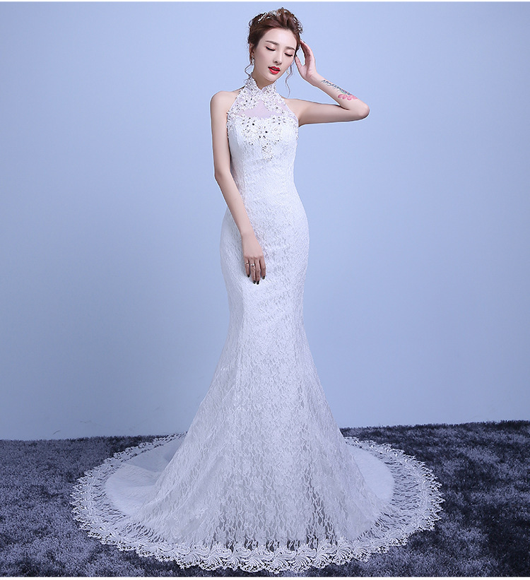 2018 Backlakegirls New Arrival Ivory Sleeveless Fashion Halter Lace Thin Waist Mermaid Small Tailing Bride Wedding Full Dresses