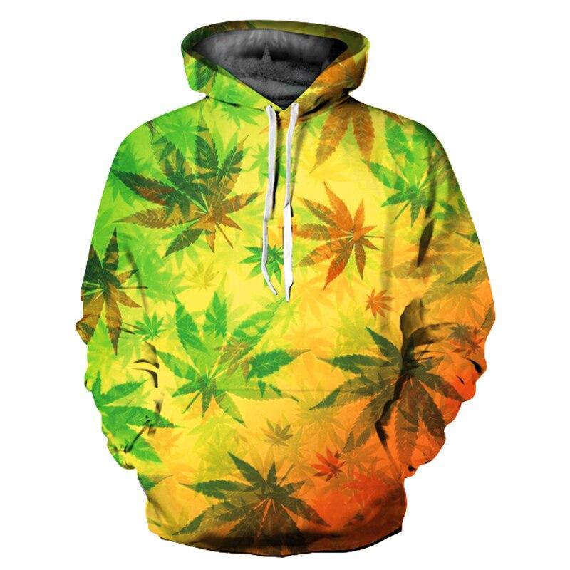 Maple Leaf Printed Hooded Hoodies Autumn Winter Hoodies For Women/Men XXXL Gradient Color Woman Hoodies Long Sleeve Hoody