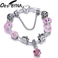 1679a52a39ab Mickey Minnie Mouse encanto pulseras y brazalete para las mujeres joyería  de los niños Rosa Arco-Nudo colgante pulsera de Pandor.