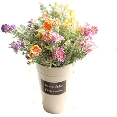 Planta para Casa Sala de Estar Artificial Crisântemo Flores Falso Simulação Decoração Mesa Casamento Nupcial Floral 10 Pçs