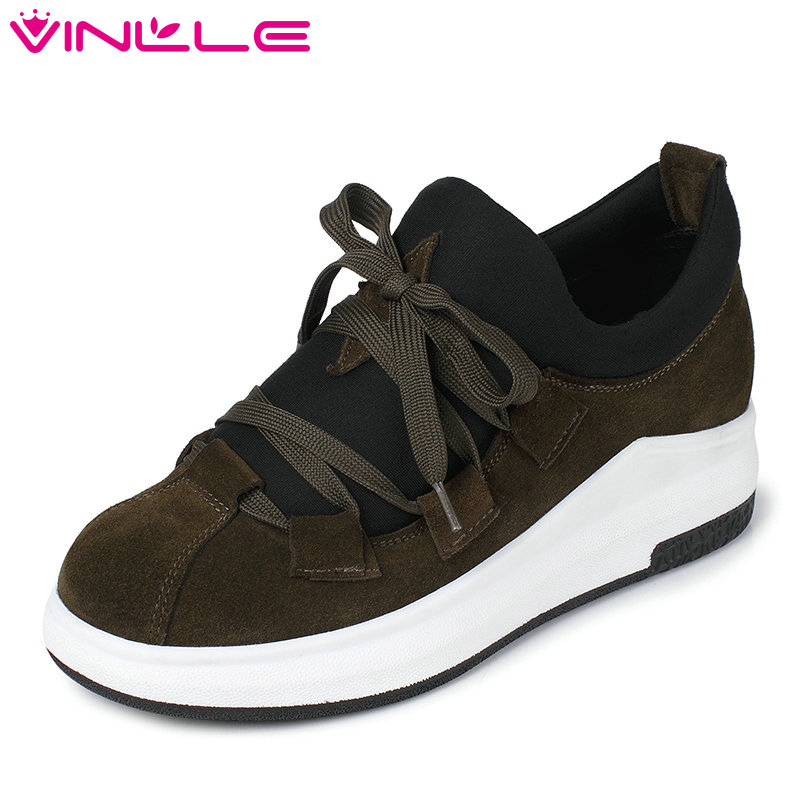 VINLLE 2017 Women Pumps Wedges Med Heel Genuine Leather Lace Up Fashion Shoes for Spring Autumn Women Casual Shoes Size 34-39 cosmo стул violet