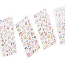 6sheets/pack Cartoon Kawaii Cute Transparent Scrapbooking Stickers Diary Album Mobile Phone Decoration Adhesive Sticker Label