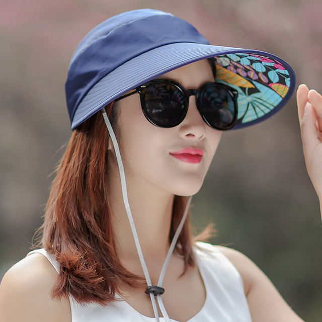 5672f1b3 Sun Hats for women summer solid packable sun visor hat with big heads wide  brim beach hat UV protection female caps