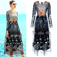 Graceful Dress 2017 Early Autumn High Quality Long Sleeve Cute Abstract Floral Embroidery Women Cultivate Party