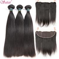 Satai Straight Hair Human Hair 3 Bundles With Frontal Natural Color Peruvian Hair Bundles With Closure Non Remy Hair Extension