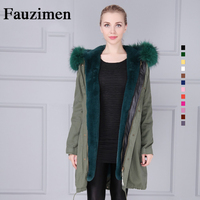 Wholesale Plus Size Green Thick Parka Faux Fur Lining Winter Jacket Women Coat Hooded Long Parkas Outwear