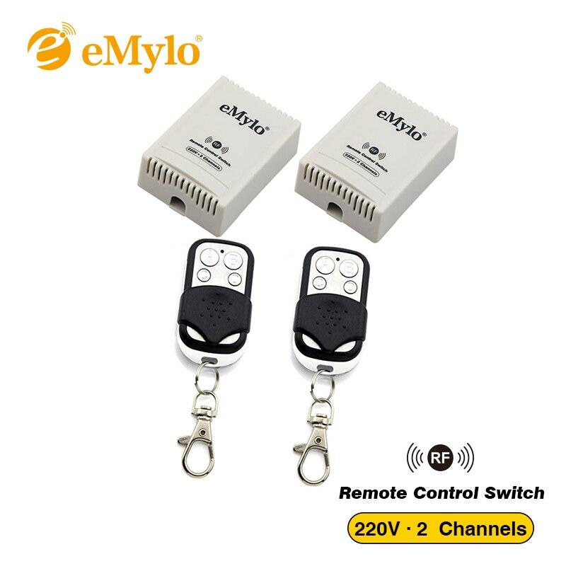 eMylo Smart Switch, Wireless Remote Control Light Lamp Led Switch RF AC 220V 1000W Black Transmitter 2X 2 Channels Relays 433Mhz emylo ac 220v 1000w 10a 2 channels relay