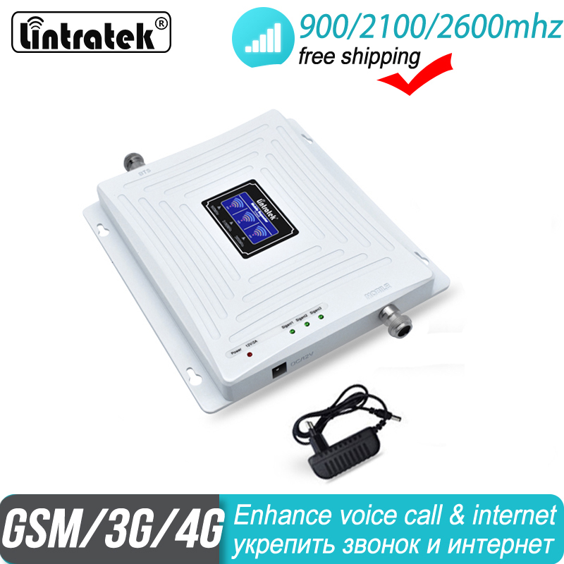Free Shipping Mobile Amplifier Tri Band 2G 3G 4G Repeater 900 2100 FDD 2600 B7 DCS WCDMA Repeater LTE Cellular Signal Booster 35