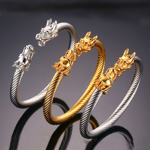 Cool Design Gola Plated Stainless Steel Viking Jewelry Fashion Dragon  Open Bracelet,Silver/Gold Plated Mens  Bracelet