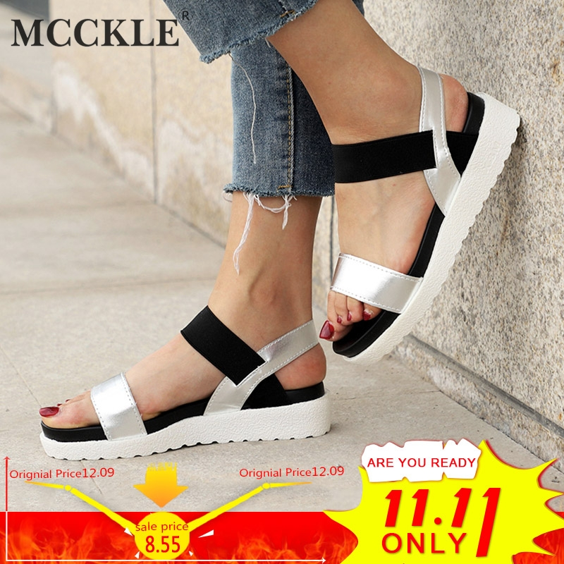 MCCKLE Women Sandals Slip On Elastic Band Female Summer Shoes Platform Roman Female Flat Sandals mujer sandalias Ladies Footwear стоимость
