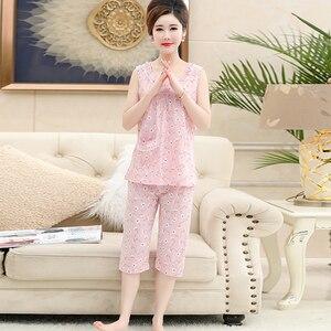 Image 5 - Хлопковая майка, укороченные брюки, пижама для женщин, летний кружевной Женский Повседневный комплект с принтом, с круглым вырезом и коротким рукавом, Женская домашняя одежда женская, Размер 4XL