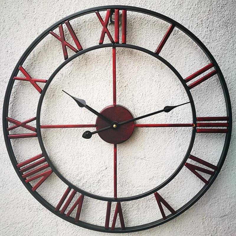Nouveau 3D circulaire rétro romain 47cm forgé creux fer Vintage grand muet décoratif horloge murale sur la décoration murale pour la maison - 6