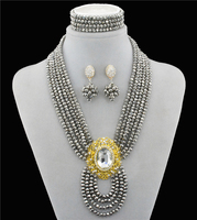Srebrny gems Nowy Biżuteria Ślubna Ustaw Austriackie Kryształowy Bridal Jewelry Sets Dla Kobiet Długie Oświadczenie Naszyjnik/Kolczyki Zestaw