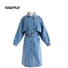 Europe Long Style Denim Coat Fashion The New Vintage Denim Trench Coat 2017 Autumn Cool Streetwear Large Size