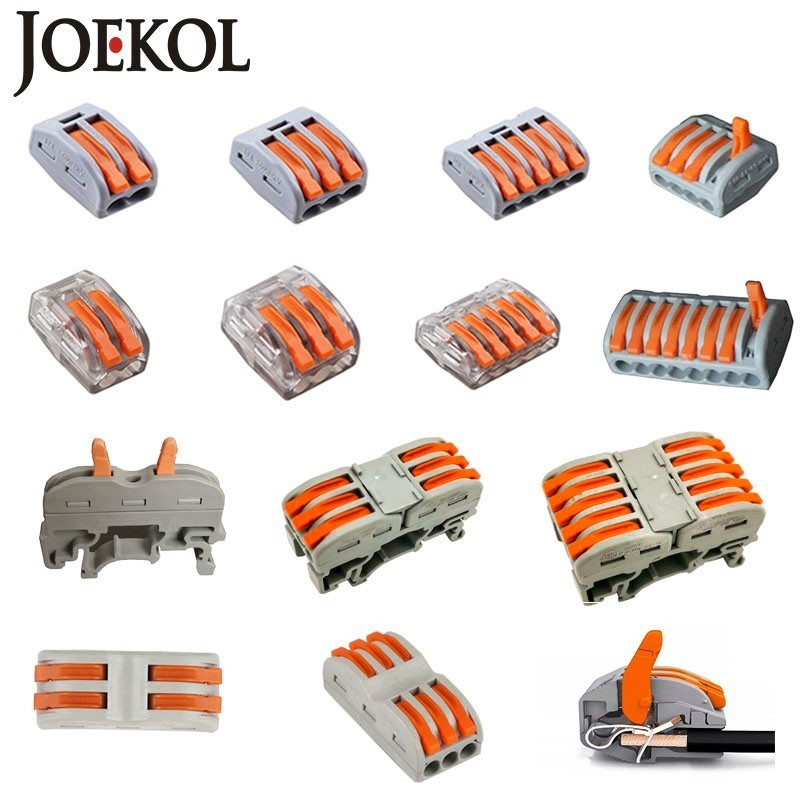JOEKOL 30-50Pcs/Lot WAGO 221 222-412 413 415 Mini Fast Wire Connectors Universal