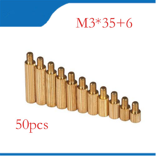50pcs <font><b>M3</b></font> Male 6mm <font><b>x</b></font> <font><b>M3</b></font> Female <font><b>35mm</b></font> Brass Standoff Spacer <font><b>M3</b></font> 35+6 Copper Hexagonal Stud Spacer Hollow Pillars <font><b>m3</b></font>*35+6mm image