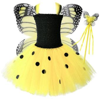 Vestido Infantil Real 2019 Girls Tutu Dress Baby Fluffy Tulle With Butterfly Wing Halloween Kids Party Cosplay Costume Dresses black flower baby girls tutu dress sleeveless tulle halloween cosplay animal cat costume for girls kids birthday party dresses