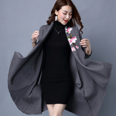 Элегантный кардиган, свитер, плащ, пальто для женщин, Цветочная вышивка, кимоно, Осень-зима, длинное женское пальто, длинный рукав, Тренч - Цвет: Серый