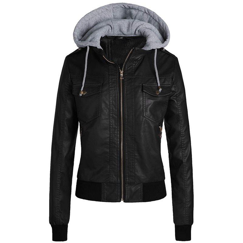 Winter PU Sheath Hooded Jacket Women Casual Basic Coats Ladies Basic Jackets Waterproof Windproof Coats Female