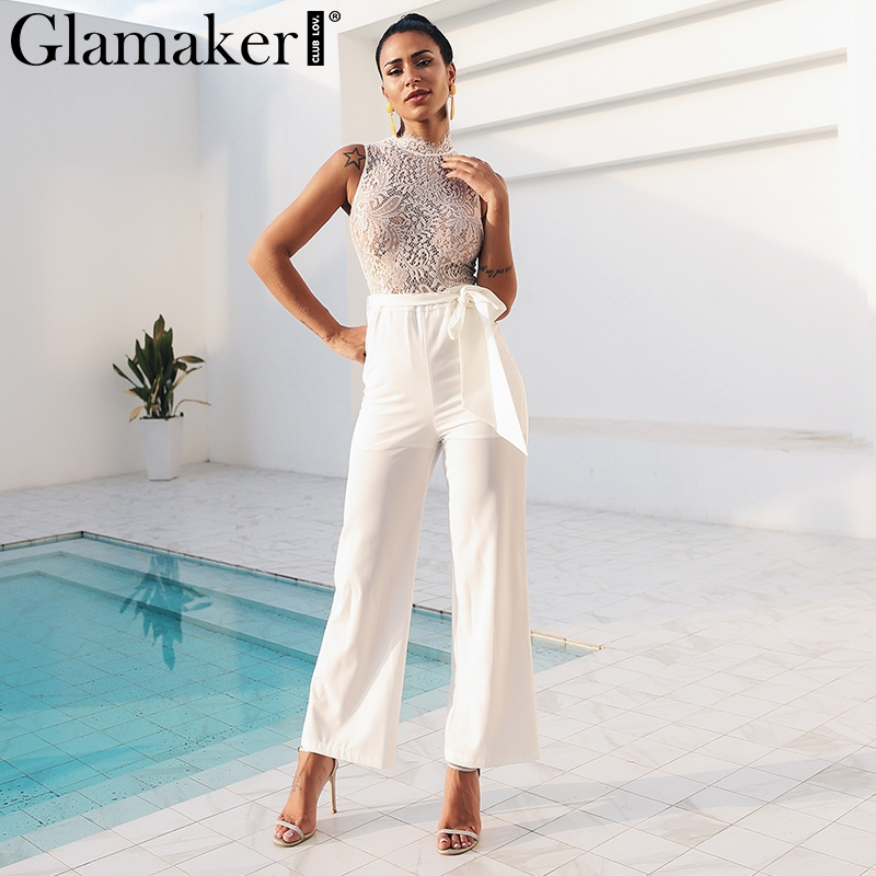 6e25dd62b250 Glamaker White lace transparent sexy jumpsuit Women sash sleeveless elegant  long playsuit Holiday party jumpsuit romper overalls