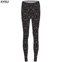 KYKU Line Leggings Geometry Long Legings Black Leggins fitness  Print Legging Stretch Pants Women Rock Stretchy