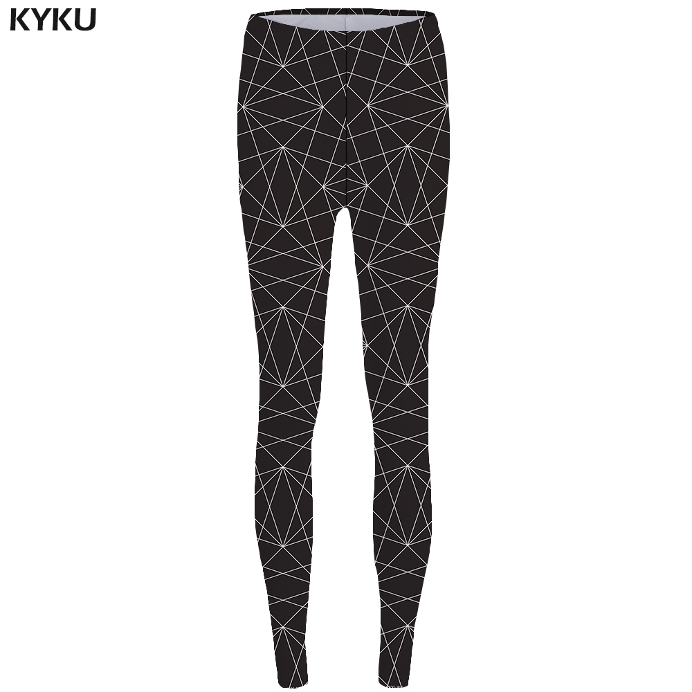 KYKU Line Leggings Geometry Long Legings Black Leggins fitness Print Legging Stretch Pants Legging Women Rock Stretchy