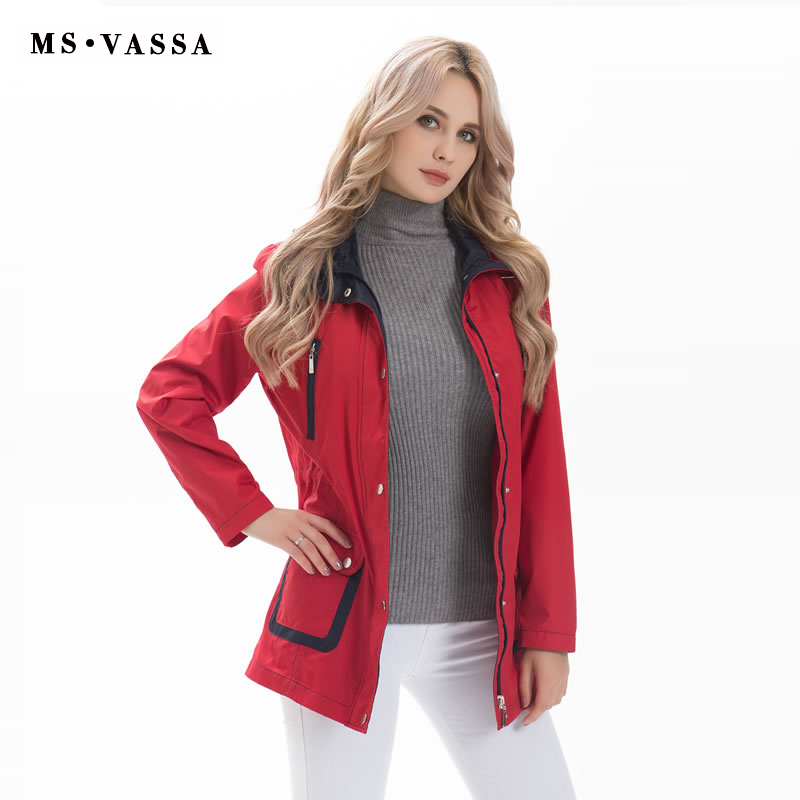 MS VASSA   Trench   coat Women New 2018 Autumn Windbreaker patchwork style detachable hood turn-down collar plu over size 7XL 9XL