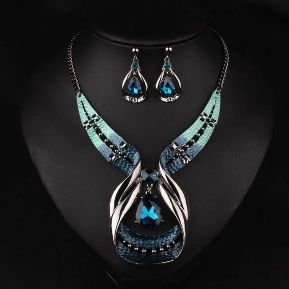 zheFanku New Elegant Blue Stone Jewelry Sets For Women Vintage Statement Necklace Earrings Set