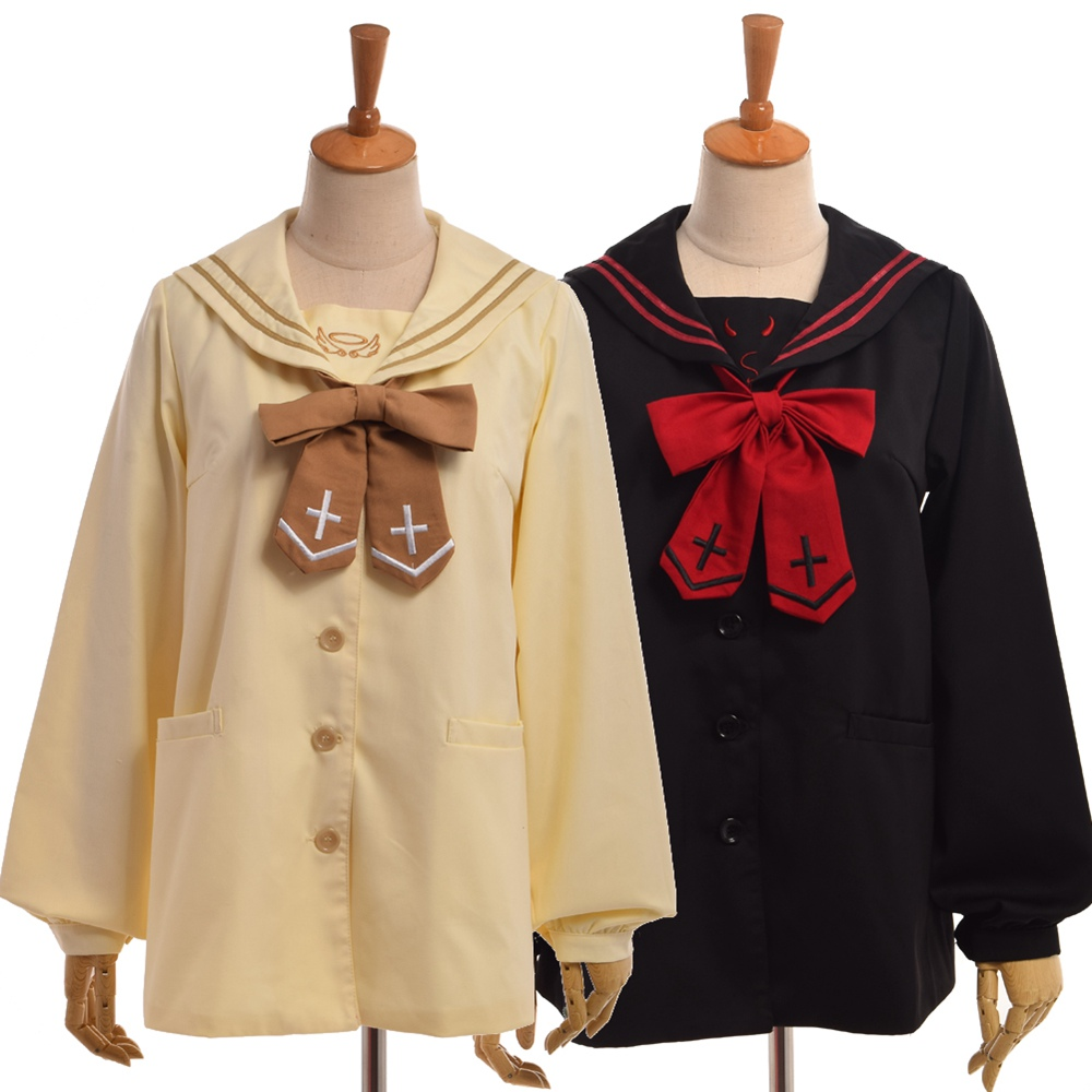 Girls Cute Preppy Sailor Collar Coat Angel/Devil Pattern Cross Embroidery Bow Tie Long Sleeve Outwear