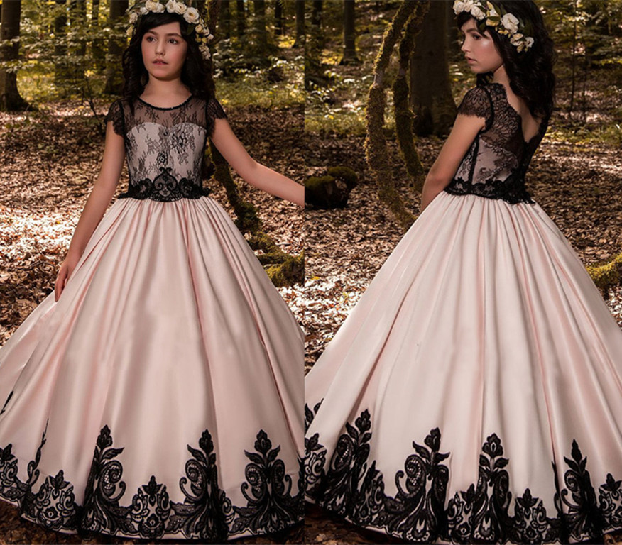 2018 Miaoyi черный и розовый пушистый для девочек в цветочек платья бальное платье с кружевной аппликацией для первого причастия для девочек пла