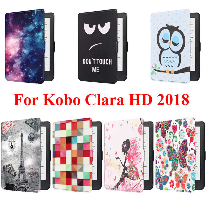 Smart Cover Case for Kobo Clara HD 2018 Protector Shell Skin Pouch Bag With Tower Butterfly Girl Print E-Book Reader BokoClaraHD