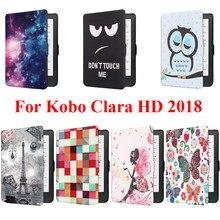 Capa inteligente para kobo clara hd 2018, proteção em concha, bolsa de pele com torre, leitor de e-book de menina de borboleta bokoclarahd