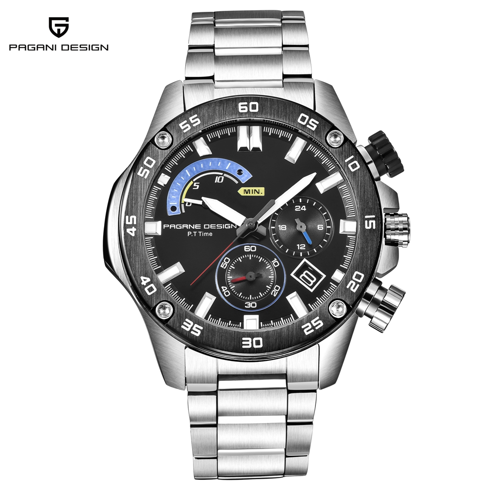 PAGANI DESIGN Mens Quartz Watches Solid Stainless Steel Man Wristwatches Business Military Mens Watch Chronograph Date ClockPAGANI DESIGN Mens Quartz Watches Solid Stainless Steel Man Wristwatches Business Military Mens Watch Chronograph Date Clock