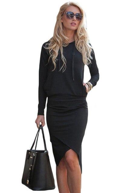 Женщины Черный темно-серый спортивный балахон юбка-карандаш набор осень стильный длинным рукавом твердые топы и bodycon юбка установить LC63017