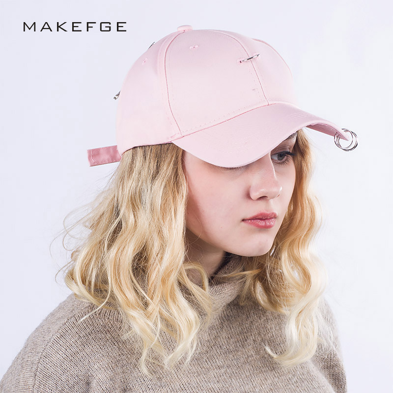 spring Hats For Women Men  Cap cotton Baseball Caps Sun Visor Iron ring Hat Gorras Casquette Touca Black Casual pink and White aetrue winter knitted hat beanie men scarf skullies beanies winter hats for women men caps gorras bonnet mask brand hats 2018
