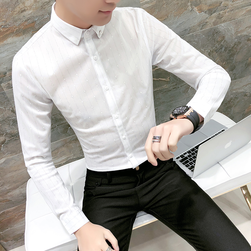 Spring Men Shirt Tuxedo 2018 New Casual Striped Shirts Mens Long Sleeve Slim Fit Night Club Work Shirt Social Mens Clothing 3XL