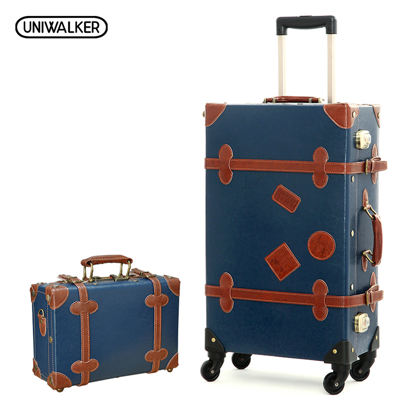 2PCS/SET Vintage PU Leather Travel Luggage,12 20 22 24 26 Retro Trolley Suitcase Bags With Spinner Wheels With TSA Lock 20 26 dark green vintage suitcase pu leather travel suitcase scratch resistant rolling luggage bags with universal wheels