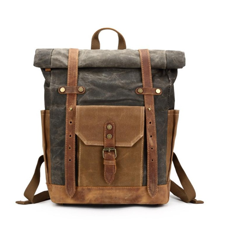 "Yupinxuan Vintage Oil Waxed Canvas Leather Backpack Large Capacity Teenager Traveling Waterproof Daypacks 14"" Laptops Rucksack"