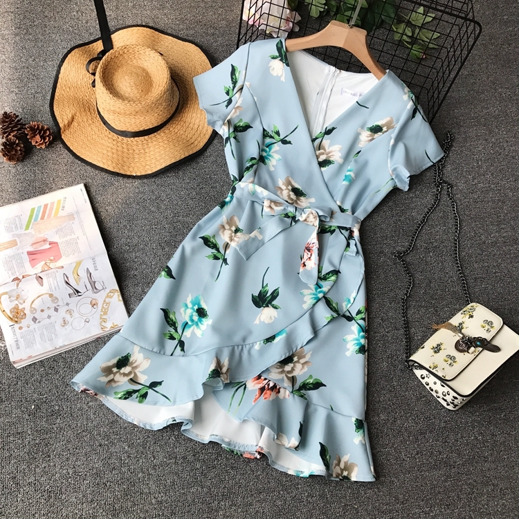 Summer Women Mini Dress High Waist V-neck Flower Printing Sashes Ruffles Wrap Dress Female Blue Irregular Ruffled Vestidos