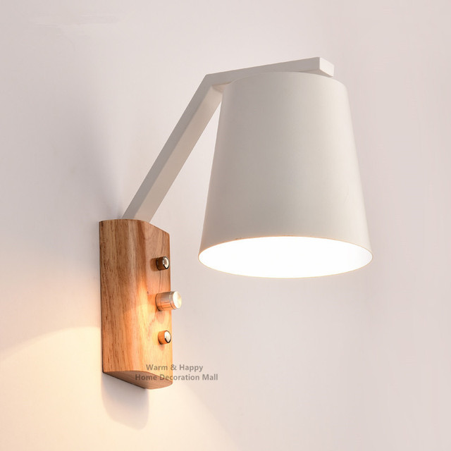 Nordic Modern Wooden Wall Sconces Black White LED Wall Lamp Lights For Home  Lighting Fixtures With