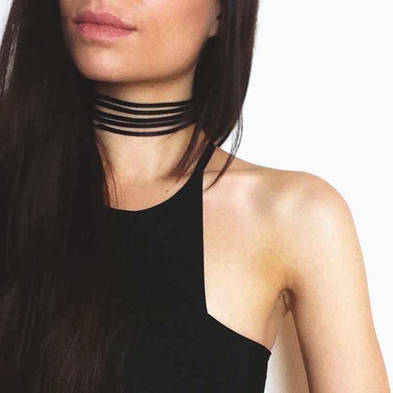 NK860 Baru Fashion Hitam Chokers Kalung Multilayer Kulit Harajuku Gothic Suede Beludru Klavikula Colares Wanita Punk Perhiasan