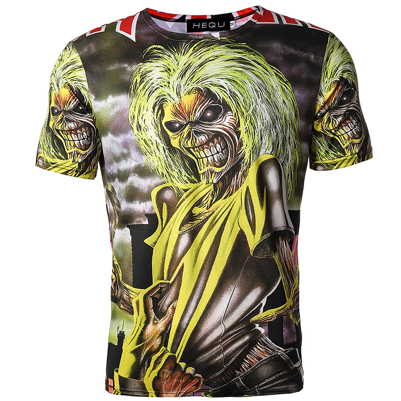 Camiseta hombre Camiseta negra Camiseta estampado algodón calavera - Ropa de hombre