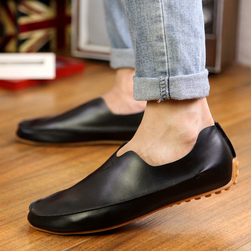 7ce036b60076 new 2015 Mens Leather Mens Rubber Fashion Flat Platform Casual driving Shoes  Men slip on light Flats Loafers moccasin gommino-in Men s Casual Shoes from  ...