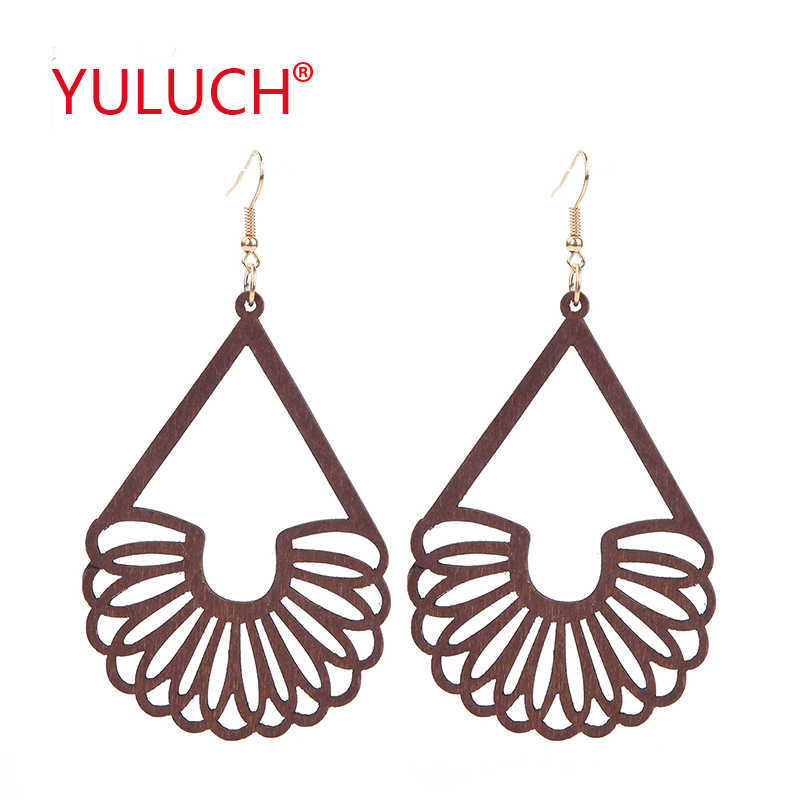 YULUCH African woman pop earrings wooden new design hollow drop pendant earrings fashion jewelry party gifts