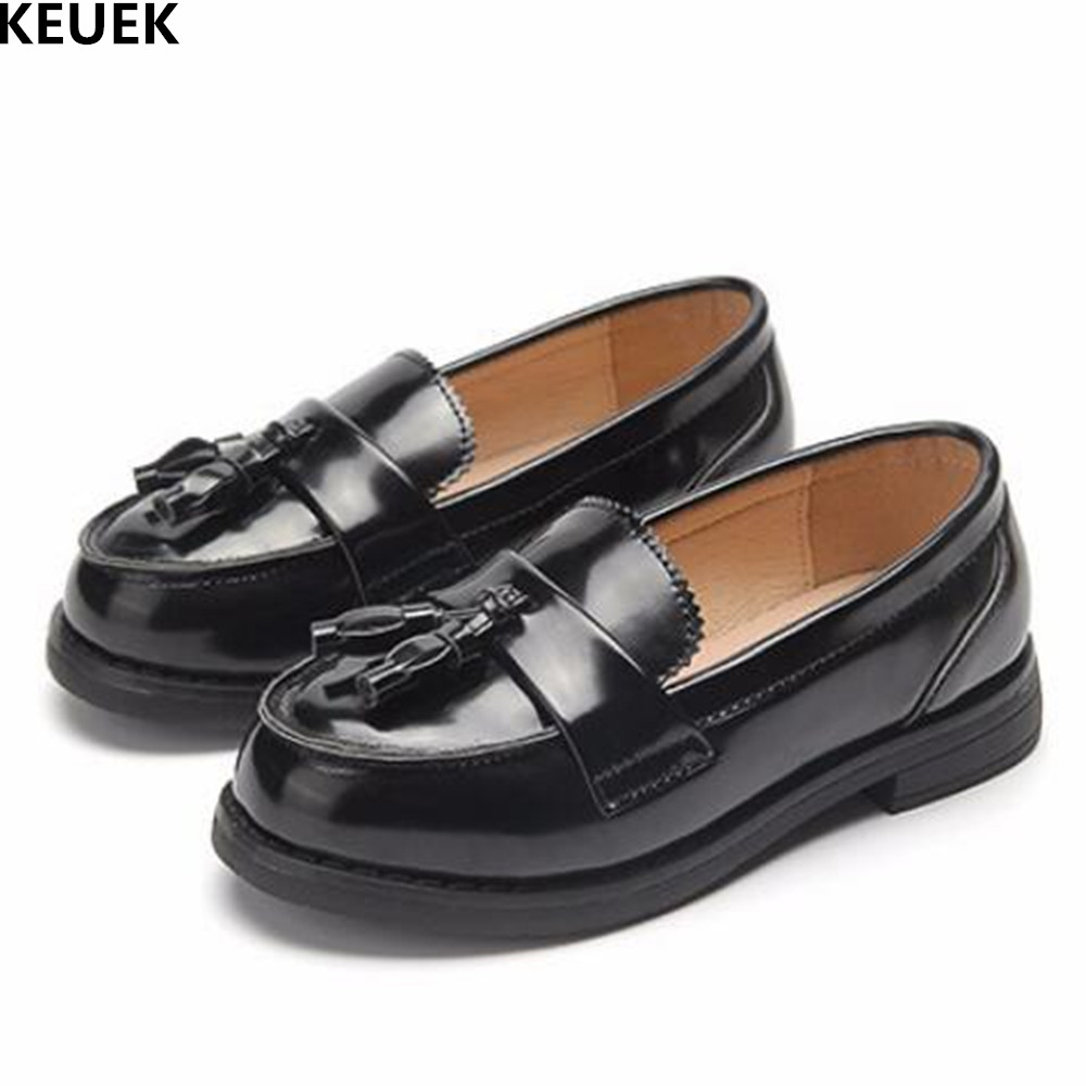 New Girls Loafers Single Shoes Student Black Leather Shoes Children Fashion Tassel Casual Boys Dress Shoes Kids Flats 019