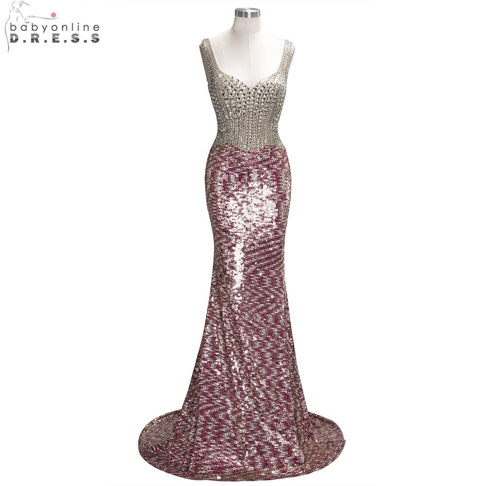 Babyonline Beaded Crystal Mermaid   Evening     Dresses   2019 Shinny Sequin Long   Evening   Gowns Formal Party   Dress   vestido de festa